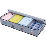 1Storage Charcoal Fiber Under Bed Organizer, Carry Handles, 4Cells, Breathable Material, Grey 902-15