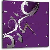 3dRose 3D Rose A Purple Background with A Sliver Flourish Overlay Wall Clock, 13 x 13