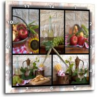 3dRose dpp_28849_2 Wine and Fruit Collage Wall Clock, 13 by 13-Inch