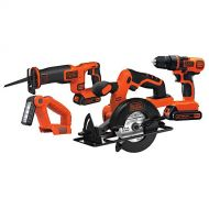 BLACK+DECKER Black & Decker BD4KITCDCRL 20V MAX Drill/Driver Circular and Reciprocating Saw Worklight Combo Kit
