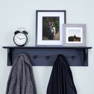 /Ballucci Floating Coat and Hat Wall Shelf Rack, 5 Pegs Hook, 24, White