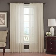 Beautyrest Vue Signature 14470052084IVY Textured Chiffon 52-Inch by 84-Inch Single Window Curtain Panel, Ivory