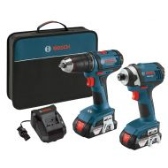 Bosch 18V 2-Tool Combo Kit with 12-Inch DrillDriver, 14-Inch Impact Driver CLPK26-181, 2 Batteries, Charger and Contractor Bag