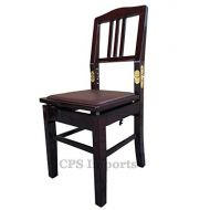 CPS Imports Adjustable Piano Chair Bench with Quick Adjustment in Mahogany