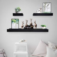 Coismo Set of 3 Multi length Floating Shelves, Coffee