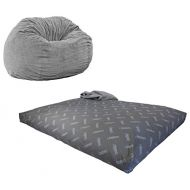 CordaRoys Chenille Bean Bag Chair, Convertible Chair Folds from Bean Bag to Bed, As Seen on Shark Tank - Navy, Queen Size