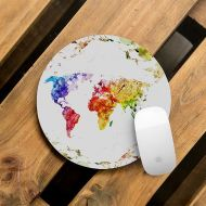 CreativeMacBookCases Mouse Pad Pretty Mousepad Round Office Desk Pad Mousepad Watercolor Atlas Computer Pad Gift Mouse Mat World Map Rubber Mousemat WCM5077