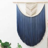 D&L Macrame Woven Wall Hanging, Nordic Boho Handmade Tassel Dyeing Tapestry Home Wall Art Decor-green W50xH80cm