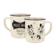 Disney Mickey Mouse 13754 Disney Mickey & Minnie Vintage Happy Time Enamel Effect Porcelain Mug Coffee Cup Ceramic Beige