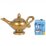 Disney Aladdin Ceramic Sugar and Creamer Set - Genie and Lamp Classic Design - Official Disney Kitchen and Party Decor