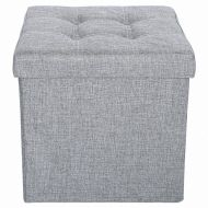 Epeanhome epeanhome Storage Ottoman Fabric Linen Folding Stool,Collapsible Ottoman 15 Foot Rest Seat,Clutter Toys Collection (gray)
