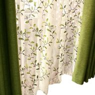 FADFAY Floral Embroidered Semi Sheer Curtains Botanical Design Elegant Green White Leaves Sheer American Country Style Room Darkening Window Curtain Panel Pair, Set of 2, 54 x 63,