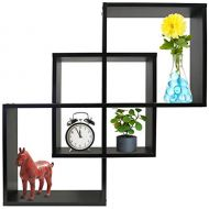Greenco Quadrate Felix 3 Cubes Intersecting Decorative Wall Mounted Floating Shelves- Espresso Finish