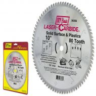 IVY Classic 36356 Laser Carbide 10-Inch 80 Tooth Solid Surface and Plastic Cutting Circular Saw Blade with 5/8-Inch Arbor, 1/Card