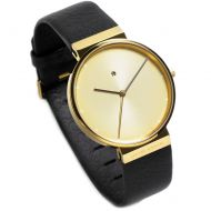 Jacob Jensen Dimension Ladies watch, ChampagneGold, Black Leather