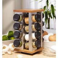 Kamenstein Warner Stainless Steel and Bamboo 16-jar Spice Rack