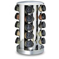 Kamenstein 20-Jar Stainless Steel Revolving Spice Rack, Screw-On Tops, Free Spice Refills Available On All Spices, Dimensions 7.0x7.0x12.0
