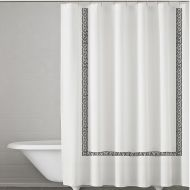 Kassatex Greek Key Embroidered Shower Curtain in WhiteCharcoal