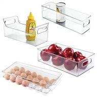 Kitchen sauce storage mDesign Plastic Kitchen Pantry Cabinet, Refrigerator, Freezer Food Storage Organizer Bin - for Fruit, Drinks, Snacks, Eggs, Pasta - Combo Includes Bins, Condiment Caddy, Egg Holder