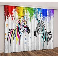LB Animal Decor Room Darkening Thermal Insulated Blackout Curtains,Colorful Zebra 3D Window Curtains Drapes for Living Room Bedroom 2 Panels Set,28 in Width by 65 inch Length
