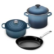 Le Creuset 5pc Oven and Stovetop Cookware Set (4.5-Quart Round Dutch Oven, 6-Quart Covered Stockpot, 10-Inch Toughened Nonstick Fry Pan) (Oyster)