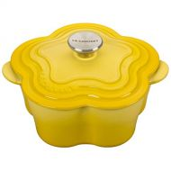 Le Creuset L2104-021MSS Enameled Cast Iron Flower Cocotte with Stainless Steel Knob, 2.25 quart, Soleil