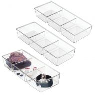 MDesign mDesign Rectangular Plastic Divided Dresser Drawer and Closet Storage Organizer Bin for Lingerie, Bras, Socks, Leggings, Clothes, Purses, Scarves - 3 Sections, 12 Long - 3 Pack - C