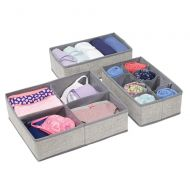 MDesign mDesign Soft Fabric Dresser Drawer and Closet Storage Organizer Bin Boxes for Lingerie, Bras, Socks, Leggings, Underwear, Jewelry, Scarves - Textured Print, Set of 3 - Gray