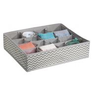 MDesign mDesign Soft Fabric Dresser Drawer and Closet Storage Organizer Tray - 16 Sections for Lingerie, Bras, Socks, Leggings, Underwear, Jewelry, Scarves - Chevron Zig-Zag Print - Taupe/
