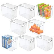 mDesign Plastic Stackable Kitchen Pantry Cabinet, Refrigerator or Freezer Food Storage Bins with Handles - Organizer for Fruit, Yogurt, Snacks, Pasta - BPA Free, 16 Long, 8 Pack -