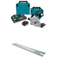 Makita XPS01PTJ 5.0Ah 18V X2 LXT Lithium-Ion (36V) Brushless Cordless 6-12 Plunge Circular Saw Kit with 194368-5 Guide Rail, 55-Inch