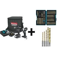 Makita CX200RB 18V LXT Lithium-Ion Sub-Compact Brushless Cordless 2-Pc. Combo Kit (2.0Ah) with Impact Gold Torsion Bit Set (38 Piece) and Titanium Coated Drill Bit Set, 14-Inch, 5