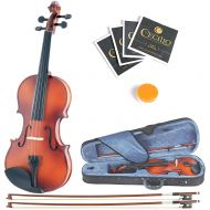 Mendini by Cecilio Size 132 MV300 Handcrafted Solid Wood Violin Pack with 1 Year Warranty, 2 Bows, Rosin, Extra Set Strings, 2 Bridges & Case, Satin Antique