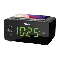 Naxa Electronics NAXA Electronics NRC-190 Dual Alarm Clock with Qi Wireless Charging Function for Smartphones/iPod/iPhone/Tablets, LED Display, Black