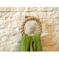 GREENSAIL Towel Holder Ring..Nautical Decor Bathroom..Natural Jute Rope..Decor for Bathroom or Kitchen