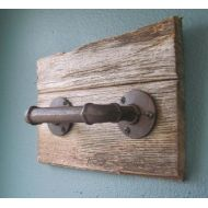 Graceon6th Industrial Rustic Hand Towel Holder on Barnwood - rust colored pipe (one piece), mounted on salvaged wood