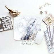 HelloDelicious Mouse Pad Mousepad Faux White Marble Print Mouse Mat Mouse Pad Office Mousemat Rectangular Mousemat White Marble Print Mousepad Round 71.
