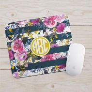 JoyfulMoose Monogram Mousepad - Floral Watercolor Office Decor - Navy Rose Gold Mouse Pad