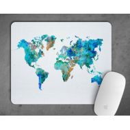 LaDecorEU World Map of the world Watercolor Mousepad Mouse Pad Art Print Decor express delivery option gift Nursery Art mouse mat Geographical Art Map