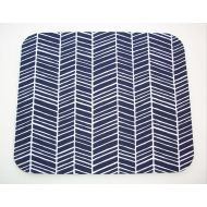 Laa766 Herringbone Mouse Pad mousepad  Mat - round or Rectangle - chevron navy blue