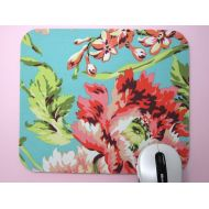 GilmoreCreations Fabric MousePad or TrivetPeonies on Teal