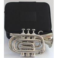 OSWAL Bb Flat Silver Nickel Pocket Trumpet WFree Case+Mouthpiece