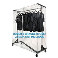 Only Hangers Heavy Gauge Clear Z Rack Cover with Zipper Plus a Pair of Round Tubing Cover Support Brackets - Combo Kit fits all 5 Wide Z Racks (Note: Z Racks Sold Separately) …