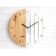 Paladim 12 Geometric Wall Clock, 30cm Industrial Wooden Clock - Minimalist Component Design and Unusual Modern Home and Office Decor of Wood, Gift