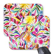 PatternBehavior Otomi Print Mouse Pad, Colorful Multicolored Animals & Flowers Mousepad