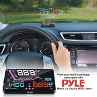 Pyle Heads Up Display HUD Screen - Universal 5.5'' Car Head-Up Windshield Display w/Multi-Color Screen Projector Vehicle Speed, GPS Navigation Compass, Plug and Play w/Speed, Time, Alti