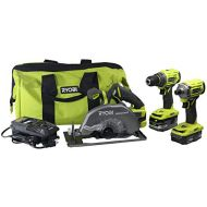 Ryobi P1837 18V One+ Cordless Brushless 3 Tool Combo Contractor Kit (9 pieces: Drill/Driver, Impact Driver, Circular Saw, 7-1/4 in Blade, Blade Wrench, Charger, 2.0 & 3.0 Ah Batter