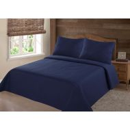 SAMIMPORT MODREN COLLECTION 1900 COUNT KING NENA NAVY BLUE SOLID CLOSOUT QUILT BEDDING BEDSPREAD COVERLET PILLOW CASES SET