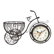 SHAUA Generic Vintage Metal Rustic Bicycle Clock Bike Shaped Double Side Table Decorative Clock for Home Decor with Basket