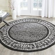 Safavieh Adirondack Collection ADR110A Black and Silver Vintage Distressed Round Area Rug (4 Diameter)